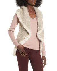 Love Token - White Knit Vest With Genuine Rabbit Fur Trim - Lyst