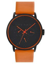 Ted Baker - Brown Multifunction Leather Strap Watch for Men - Lyst