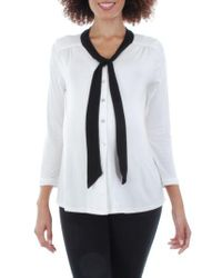 Everly Grey - Black 'kitty' Tie Neck Maternity Top - Lyst