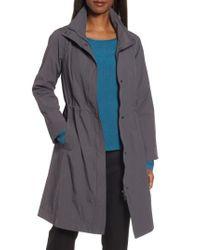 Eileen Fisher - Blue Long Organic Cotton Blend Jacket - Lyst