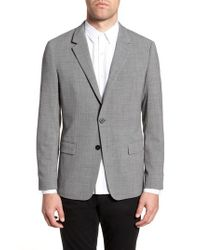 Theory - Gray Clinton Trim Fit Stretch Seersucker Wool Blend Blazer for Men - Lyst
