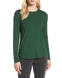 Eileen Fisher - Green Crewneck Top - Lyst