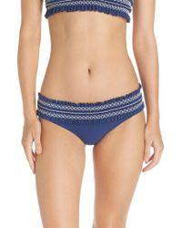 Tory Burch - Blue Costa Smocked Hipster Bikini Bottoms - Lyst