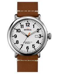 Shinola - Brown 'the Runwell' Round Leather Strap Watch for Men - Lyst