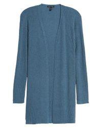Eileen Fisher - Blue Long Wool Cardigan - Lyst