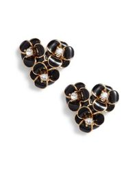 Kate Spade - Black Shine On Flower Cluster Stud Earrings - Lyst