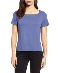 Eileen Fisher - Blue Square Neck Jersey Top - Lyst