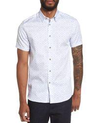 Ted Baker - Blue Almada Trim Fit Diamond Woven Shirt for Men - Lyst