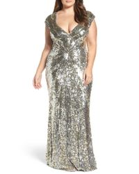 Mac Duggal - Blue Sequin Plunging V-neck Gown - Lyst