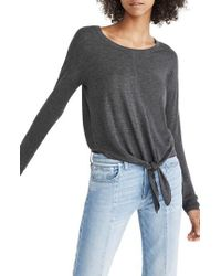 Madewell - Gray Modern Tie Front Sweater - Lyst