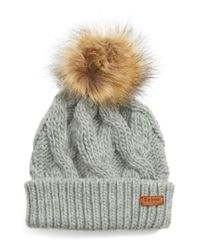 Barbour - Gray Ashridge Beanie With Faux Fur Pom - Lyst