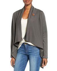 Bobeau | Gray One-Button Fleece Wrap Cardigan | Lyst