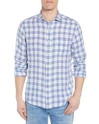 Faherty Brand - Blue Laguna Plaid Linen Sport Shirt for Men - Lyst