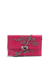 TOPSHOP | Pink Floral Beaded Convertible Clutch | Lyst