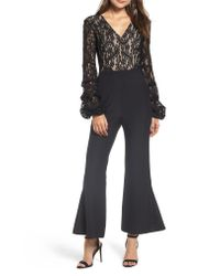 Endless Rose - Black Lace Bodice Jumpsuit - Lyst
