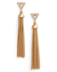 Rebecca Minkoff | Metallic Triangle Tassel Earrings | Lyst