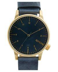 Komono | Blue 'winston' Round Dial Leather Strap Watch for Men | Lyst