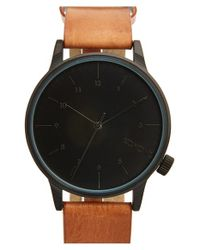 Komono - Brown 'winston' Round Dial Leather Strap Watch for Men - Lyst
