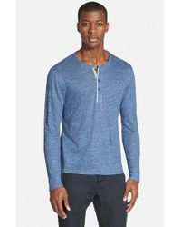Vince - Blue Trim Fit Long Sleeve Henley for Men - Lyst