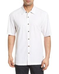 Quiksilver | White 'tahiti Palms' Regular Fit Short Sleeve Sport Shirt for Men | Lyst