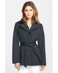 Ellen Tracy | Black Cotton Blend Short Trench Coat | Lyst
