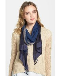 Eileen Fisher | Blue Ball Fringe Embroidered Border Cotton Scarf | Lyst