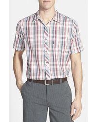 Travis Mathew | Multicolor 'haskell' Slim Fit Short Sleeve Plaid Sport Shirt for Men | Lyst