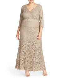 Tadashi Shoji | Natural V-neck Lace Gown | Lyst