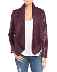 Kut From The Kloth   Red 'ana' Faux Leather Drape Front Jacket   Lyst