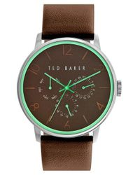 Ted Baker   Brown Multifunction Leather Strap Watch for Men   Lyst