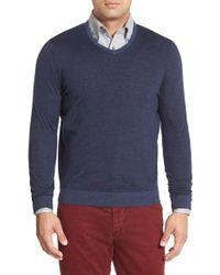 John W. Nordstrom - Blue John W. Nordstrom Regular Fit Stripe V-neck Sweater for Men - Lyst