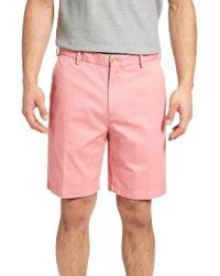 Peter Millar | Pink 'winston' Washed Twill Flat Front Shorts for Men | Lyst