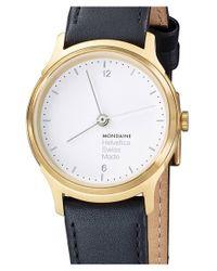 Mondaine - Metallic 'helvetica No.1 Light' Round Leather Strap Watch - Lyst