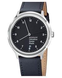 Mondaine - Black 'helvetica No.1 Regular' Round Leather Strap Watch - Lyst