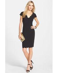 Adrianna Papell | Black Scalloped Crepe Sheath Dress | Lyst