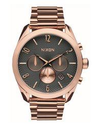 Nixon   Pink 'bullet' Guilloche Chronograph Bracelet Watch   Lyst