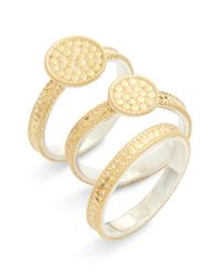 Anna Beck - Metallic Gold Plate Disc Set Of 3 Stacking Rings - Lyst