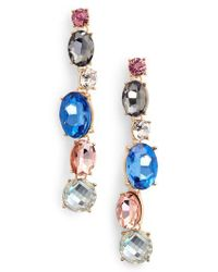 Adia Kibur - Blue Crystal Linear Earrings - Lyst