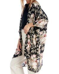 Sole Society Black Romantic Floral Kimono