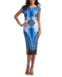 Eci | Blue Print Scuba Sheath Dress | Lyst
