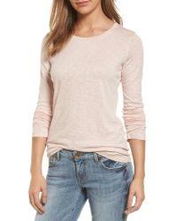 Caslon | Pink Caslon Long Sleeve Slub Knit Tee | Lyst