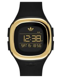 Adidas Originals | Black Denver Digital Silicone Strap Watch | Lyst