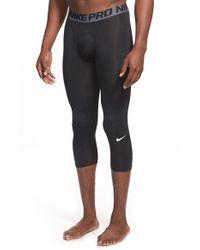 Nike - Black 'pro Cool Compression' Four-way Stretch Dri-fit Three-quarter Tights for Men - Lyst