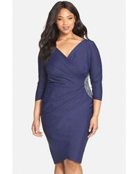 Alex Evenings | Blue Embellished Side Ruched Jersey Cocktail Sheath Dress | Lyst