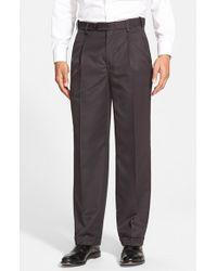 Berle | Black Self Sizer Waist Pleated Trousers for Men | Lyst