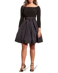 Lauren by Ralph Lauren - Black Jersey & Taffeta Party Dress - Lyst