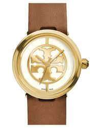 Tory Burch - Brown 'reva' Leather Strap Watch - Lyst