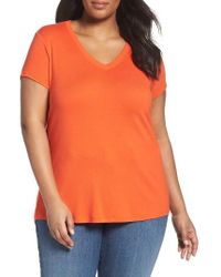 Sejour   Orange Short Sleeve V-neck Tee   Lyst