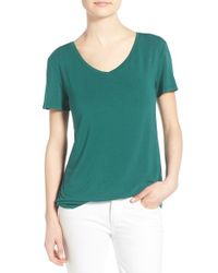 Halogen - Green Modal Jersey V-neck Tee - Lyst