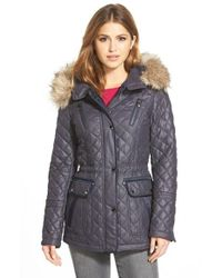 Laundry by Shelli Segal | Blue Waxy Twill Quilted Jacket With Faux Fur | Lyst